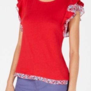 Shirt with ruffled sleeve